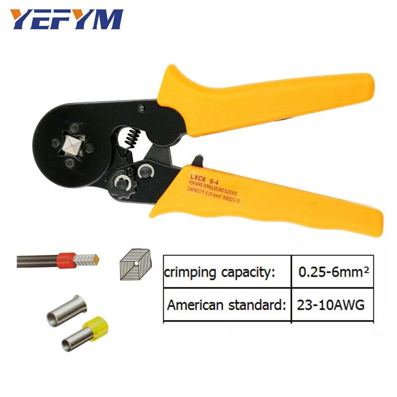 Handwerkzeuge Yefym Lxc8 6-4a Crimpen Zangen Für Rohr Typ Nadel Typ Terminal Crimp Selbst-anpassung Kapazität 0,25-6mm2 23-10awg Werkzeug Werkzeuge