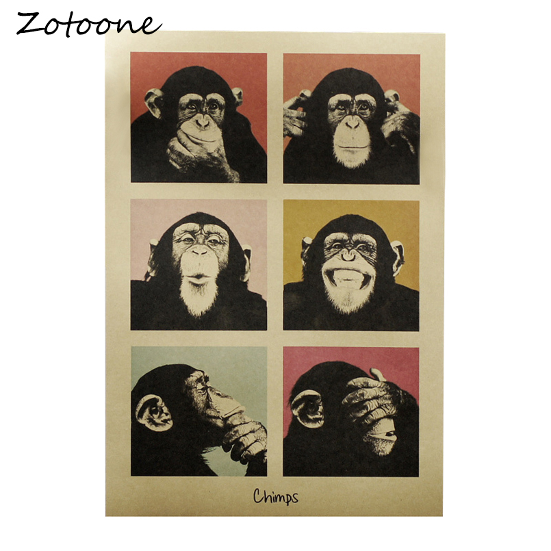 ZOTOONE Vintage Gorilla Adornment Poster Bar Counter Decoration Wall Stickers Retro Kraft Wall Paper Posters Stickers Muraux