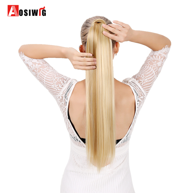 Long Straight Ponytail False Hair Extension Wrap Around Clip In Ponytail Heat Resistant Synthetic Hairpiece Pony Tail AOSIWIG
