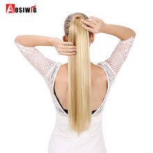 Long Straight Ponytail False Hair Extension Wrap Around Clip In Heat Resistant Synthetic Hairpiece Pony Tail AOSIWIG