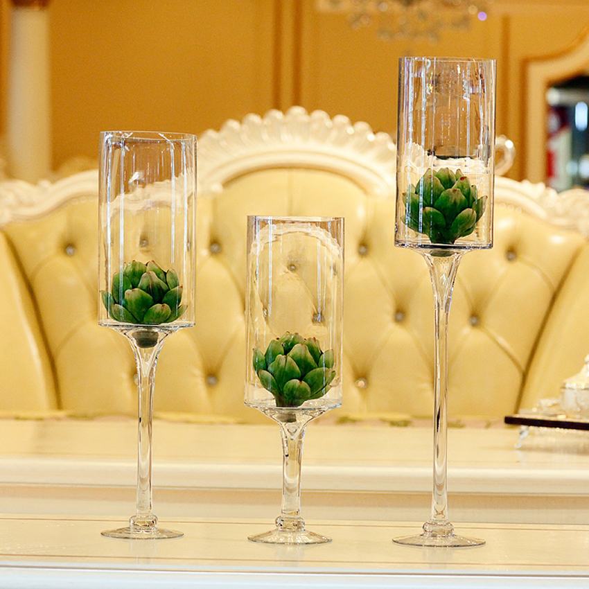 Clear Fashion Creative Champagne Cup Glass Vase Bottle Terrarium