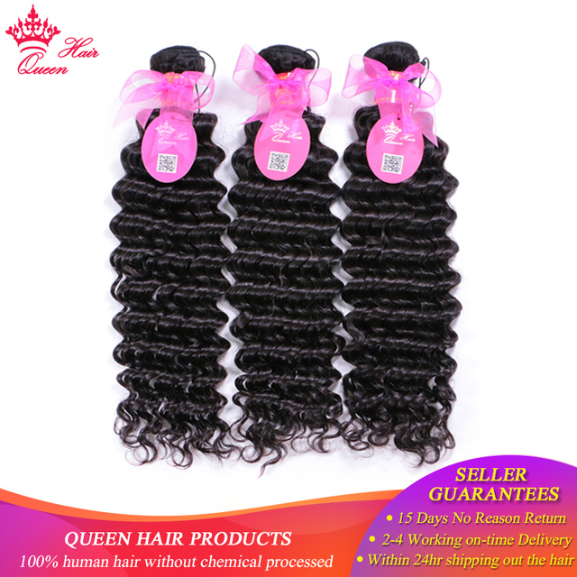 Queen Hair Products Brazilian Deep Wave Bundles Deal 3pcs/lot Natural Color 1B Hair Weave 100% Human Remy Hair Weaving