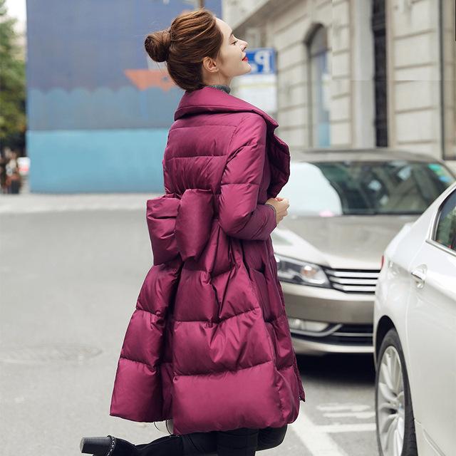 Arco chaqueta abajo, una larga sección de la Nueva de Corea Del Sur invierno 2016 traje de cuello de la cintura delgada capa fina