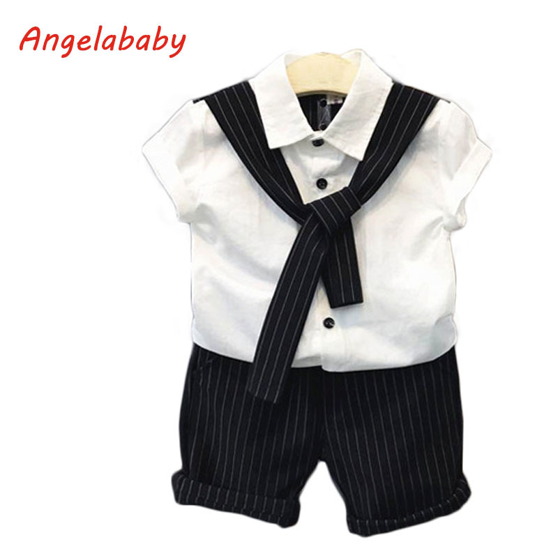 2019 Boys Clothing Set SummerCollege Wind Tie Pure Color Single-Breasted Blouse + Casual Striped Shorts Kids Clothes Suit2019 Boys Clothing Set SummerCollege Wind Tie Pure Color Single-Breasted Blouse + Casual Striped Shorts Kids Clothes Suit