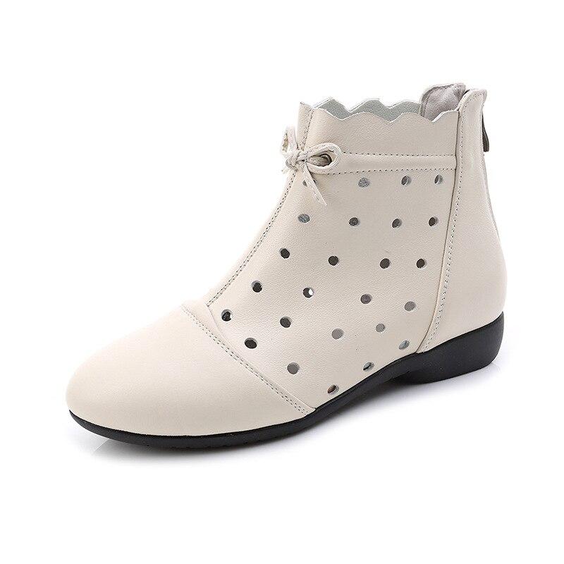 6b881b73b1cf94 Date Arc Plat Beige Peau En Bottes brown Creux Cuir noir Qualité Tendance  Doux De Chaussures Plates Printemps 2019 Femmes Confort ...