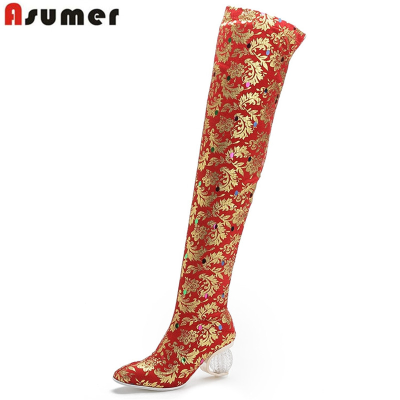 ASUMER 2020 new autumn winter over the knee boots women slip on long  boots ladies thick high heels slim stretch boots big size