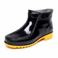 2016 Nouveau Mâle Bottes de Pluie D'eau de Pvc Hommes Chaussures Printemps Étanche noir Glissement Sur Solides En Caoutchouc Cheville Bottes Botas Hombre Grande Taille