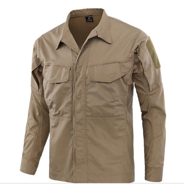 Полевая Боевая тренировочная тактическая рубашка Мужская Уличная походная клетчатая ткань износостойкая камуфляжная дышащая Военная Рубашка - Цвет: Khaki