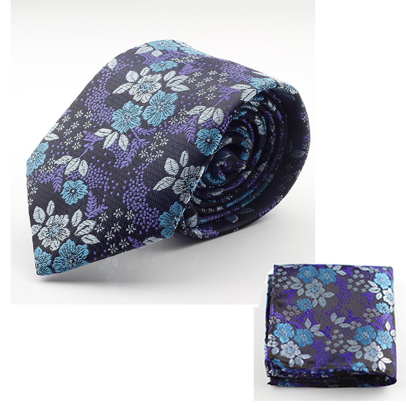 GUSLESON Nový design Hedvábná kravata sada pro muže 7cm Vázanka mužská kapesník Kravata Man Corbatas Hombre Floral Slim Wedding Tie