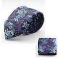Nuevo Diseño Conjunto Corbata de Seda para Los Hombres 7 cm Corbata Pañuelo de Los Hombres y Corbata Cravate Homme Hombre Corbatas Hombre Floral Delgado Lazo de La Boda