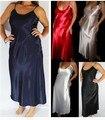 2016 Nightgown Women Sexy Strap Long Dresses Round Neck Knee-length Sleeveless Sleepwear Nightgowns Sleepshirts Plus Siz