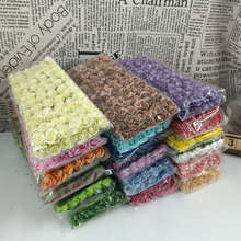 12 Pcs / Lot 1.5cm Artificial Pink Small Paper Handmade Party Supplies Artificial Flower Wedding Car Decoration