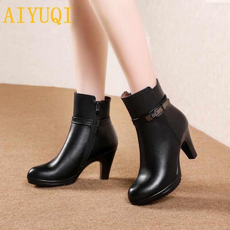 AIYUQI/женские шерстяные ботинки; Новинка 2019 года; зимние женские Ботинки martin из натуральной кожи; модельные ботинки на высоком каблуке; женские модные вечерние ботинки