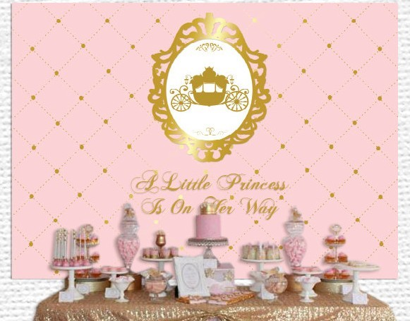 Custom Pink Gold Princess Carriage Crown Baby Shower 1st Birthday Background High Quality Computer Print Party