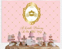 custom pink gold princess carriage crown baby shower 1st birthday background High quality Computer print party backdrops