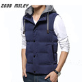 Winter Men hooded vest Cotton Warm thickening vest Hat Detachable Causal Men Waistcoat Sleeveless Jacket Plus Size M-XXXXL
