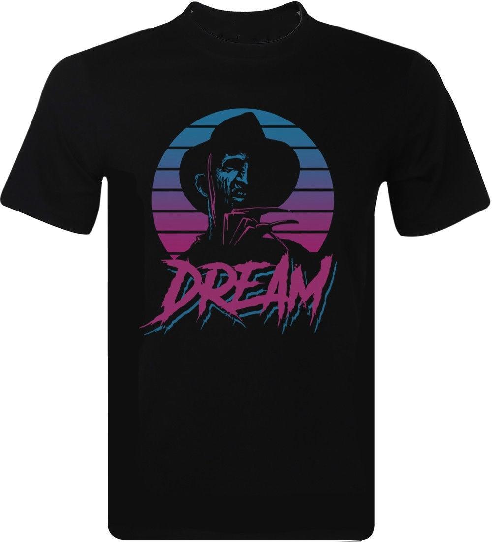 Dream Freddy Krueger T Shirt 80's Cult Film Horror Movie Graphic Men's Clothing Men's Fashion Short Sleeves Cotton Tops
