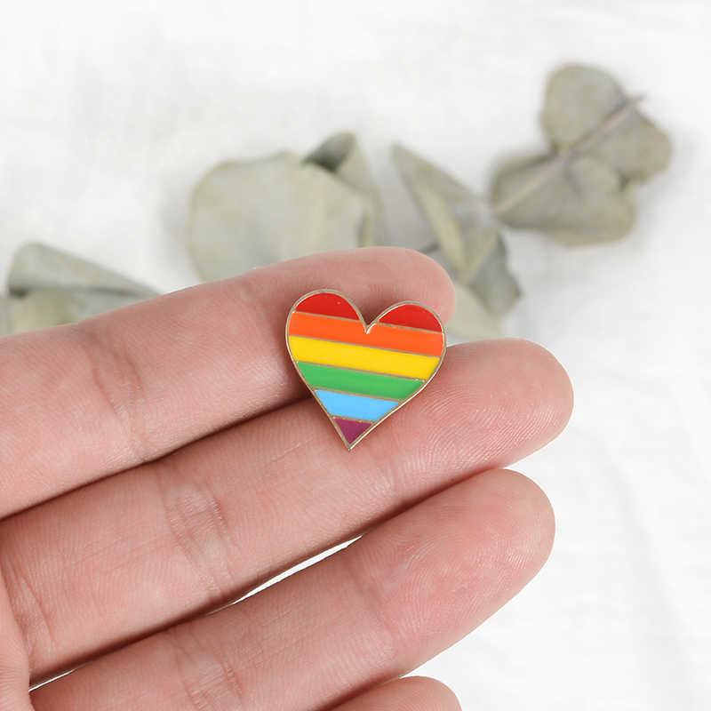 3cf32388751 ... Rainbow Pride Enamel Pin LGBT pins Rainbow Heart Enamel pin Gay Pride  Flag Lapel pin Shirt ...