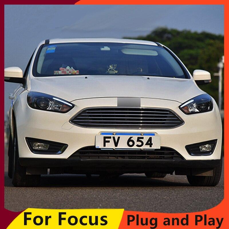 KOWELL Car Styling for Ford Focus Headlights 2015-2018 Focus3 LED Headlight DRL Bi Xenon Lens High Low Beam Parking Fog Lamp