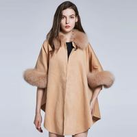 Women's Autumn Winter Shawl Fox Hair Collar Cashmere Design Real Fur Jacket Furry Jacket Solid Color Party Warm 2018 New