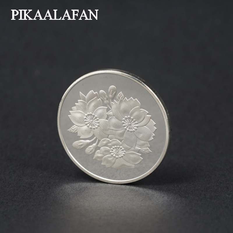 PIKAALAFAN peinture japonaise Sakura médaillon commémoratif pièce étrangère pièce en argent