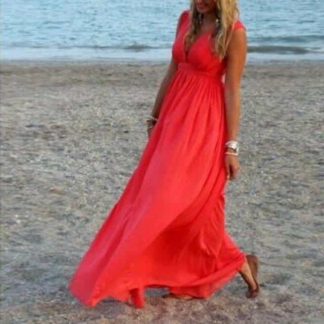615fb43fd1 Sexy Women Summer V-Neck Vestidos Boho Long Maxi Evening Party Dress Beach  Dresses Chiffon Dress