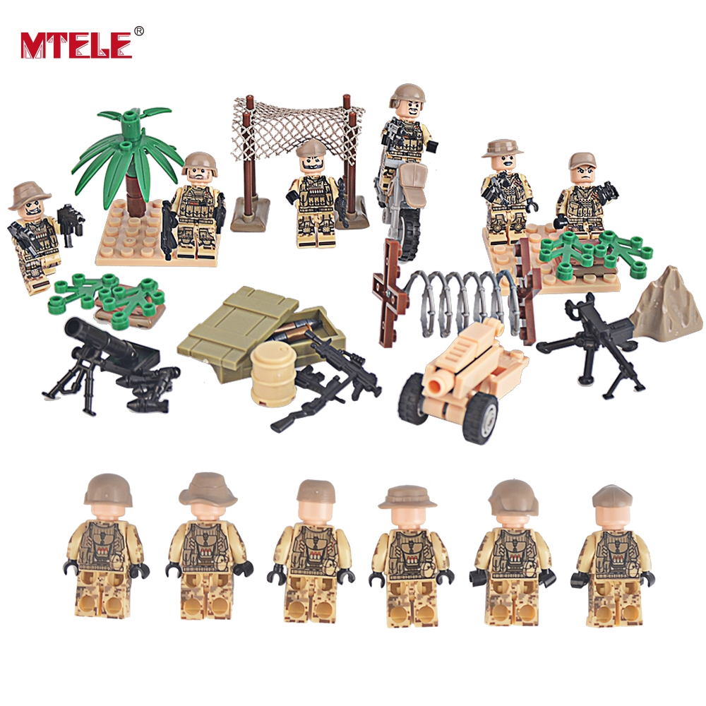 MTELE Brand 6 PCS High Quality Military SWAT Building Blocks Soldier Figures with Brick Baby Kid Toy Compatible with Lego 26pcs wooden fun big building block with animal brand top bright high quality for baby kid toy gift boy brinquedo menina tp048