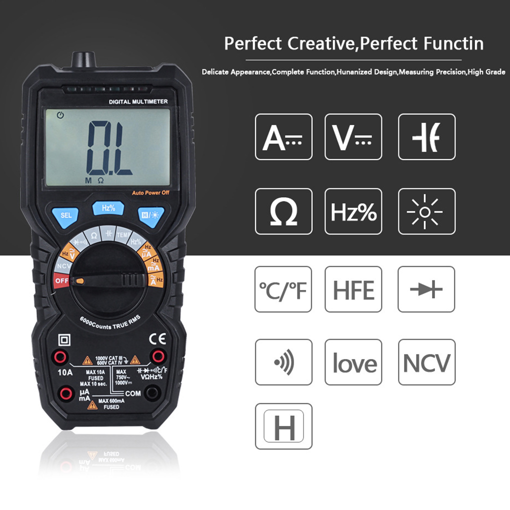 Multimeter Automatic LCD Display Electric Hand Held Tester Digital Multimetro Ammeter Capacitance Temperature Test Multitester digital multimeter mastech ms8264 dmm temperature capacitance tester multimeter handheld ammeter multitester
