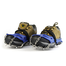 19 Teeth Stainless Steel Crampons Nylon Strap Non-slip Shoes Cover Outdoor Ski Ice Snow Device Hiking(China)