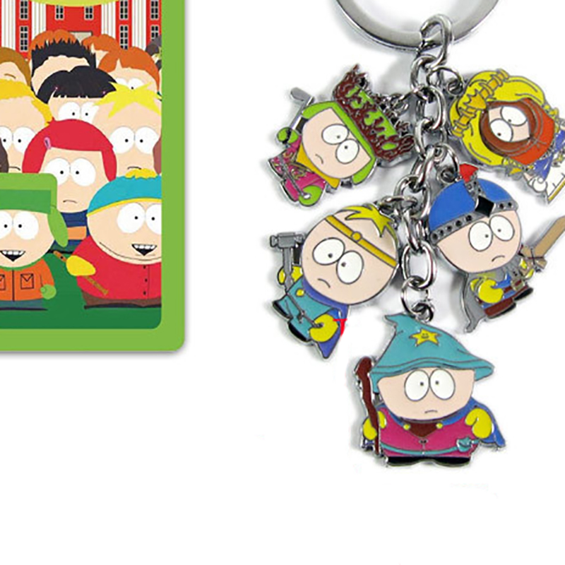 South Park Metal Badge Keychain Eric Cartman Stan Kyle Kenny Butters Cartoon Movie Key Chain Costume Accessories