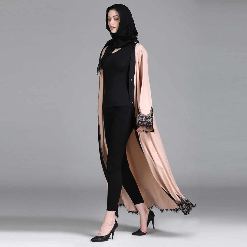 MUQGEW מוסלמי טוניקת נשים מוסלמיות האסלאמי בגדי תחרה שחבור ארוך מעיל טוניקת מזרח התיכון ארוך גלימת בגדי jalabiya דובאי