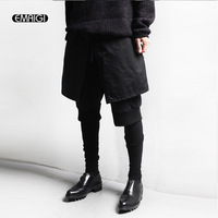 New Men Casual Pants Male Hairstylist Pants Skinny Fake Three Pieces Personality Trousers Men Punk Culottes Pant K464