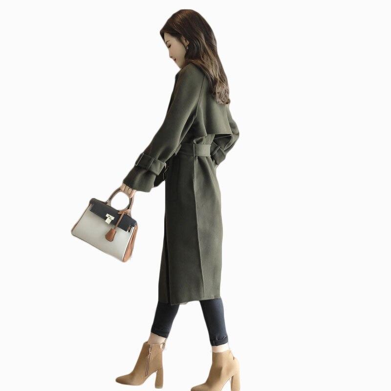 Caramel Mode Hiver Zl670 Dames Solide Mince Manteau Chaude Vestes Automne Bandage Green Taille 2017 Coupe Femmes longueur vent army Vente X wqUXfIw