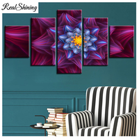 DIY 3D Diamond Embroidery Mandala Full Round Diamond Painting Cross Stitch Abstract flower 5pcs/set Needlework triptych FS6004