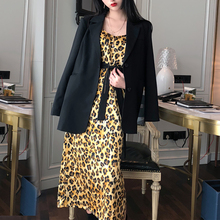 YICIYA 2 Piece Skirt Sets Sexy Women Two Outfits Retro Leopard Dress and Small Suit Jacket Clothes 2019