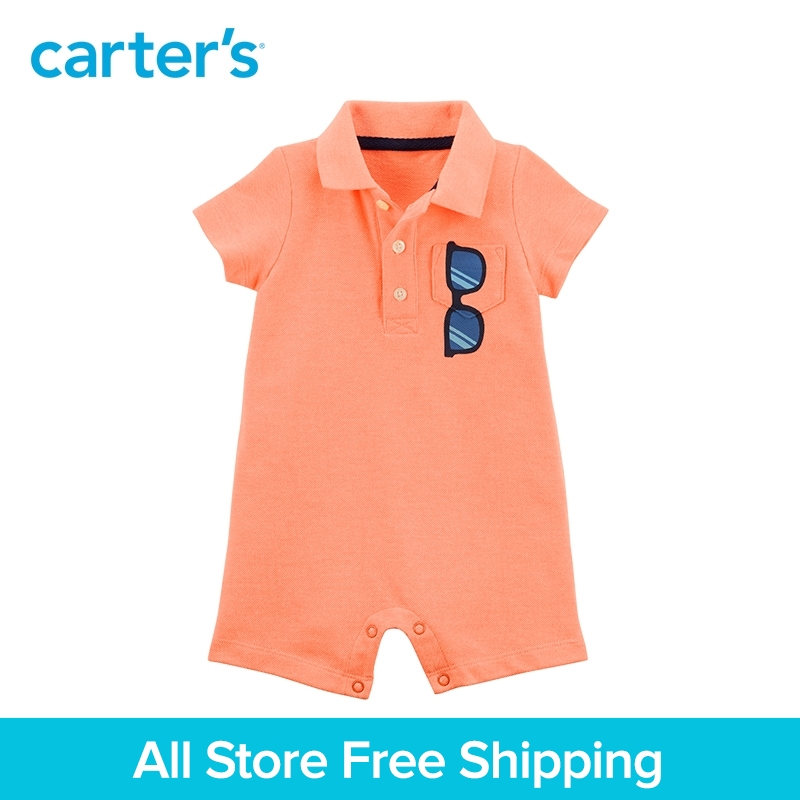 Carter's 1-Piece baby children kids clothing Boy Summer Sunglasses Polo Romper 118I270 carter s 3 piece baby children kids clothing boy summer elephant babysoft bodysuit pant set 127g895
