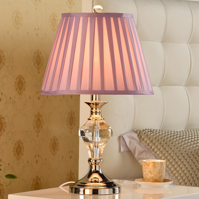 Pink Fashion Crystal Table Lamp Bedroom Bedside American Wedding Decoration Modern Brief