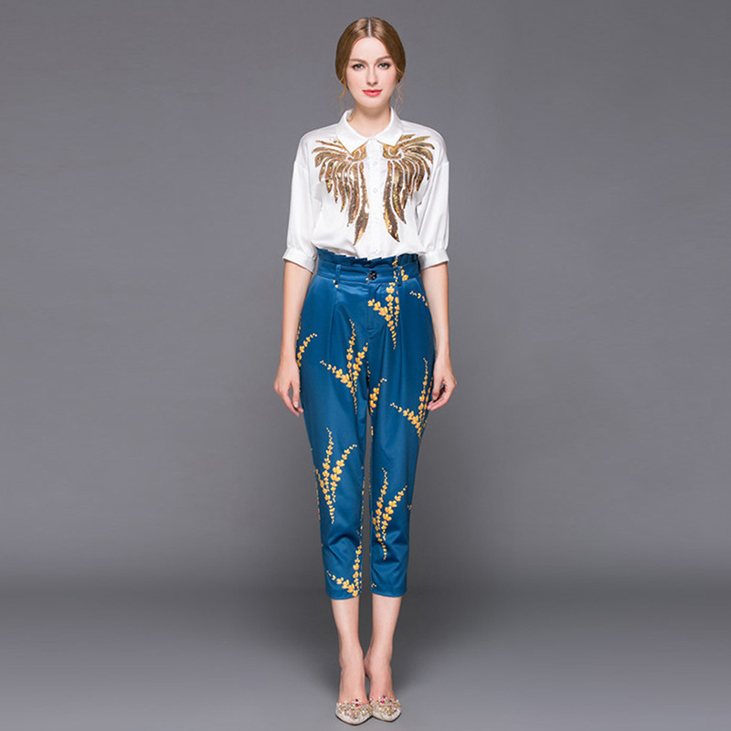 عالية الجودة 2019 الخريف الزي المصمم النساء طية صدر السترة الترتر المطرزة القمصان المطبوعة + 7 دقائق من السراويل نمط 2 قطعة مجموعات-في مجموعات نسائية من ملابس نسائية على  مجموعة 1