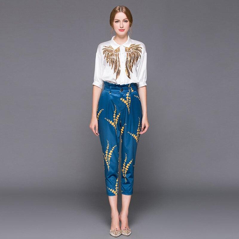 Kadın Giyim'ten Kadın Setleri'de Yüksek kalite 2019 sonbahar kıyafet stilist kadın yaka sequins işlemeli gömlek baskılı + 7 dakika pantolon tarzı 2 parça setleri'da  Grup 1