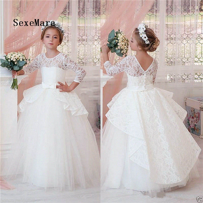 New Girls First Communion Dress Party Prom Princess Pageant Gown Lace A Line Three Quarter Sleeves Flower Girl Dress for Wedding girl communion party prom princess pageant bridesmaid wedding flower girl dress new dress