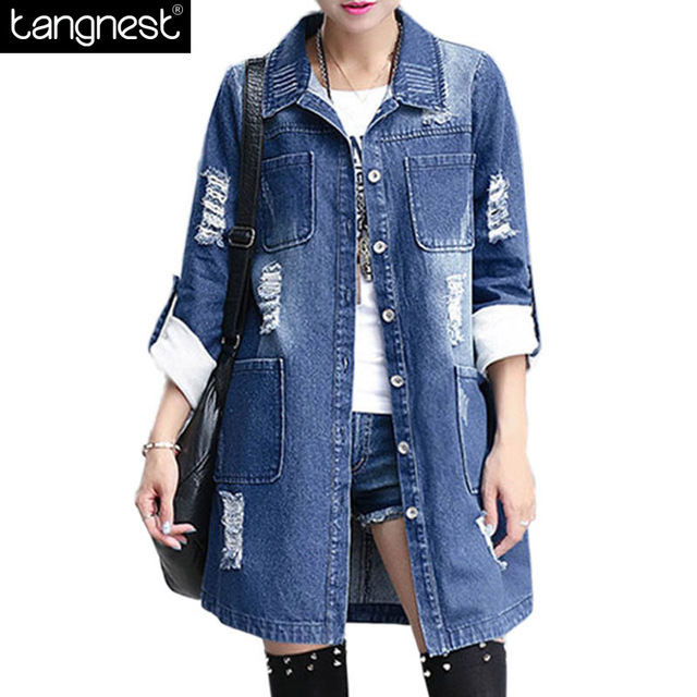 TANGNEST Long Style Denim Coat 2016 Spring New Fashion Button Up Pockets Frayed Patchwork Vintage Trench Coat Windbreaker WWF409
