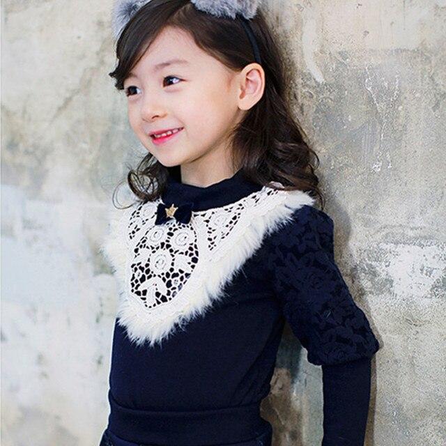 Корейские девушки свитер бренда детская clothing плюс бархат кружева свитер малышей зимняя одежда 6-9-10 лет дети свитер мех лучших