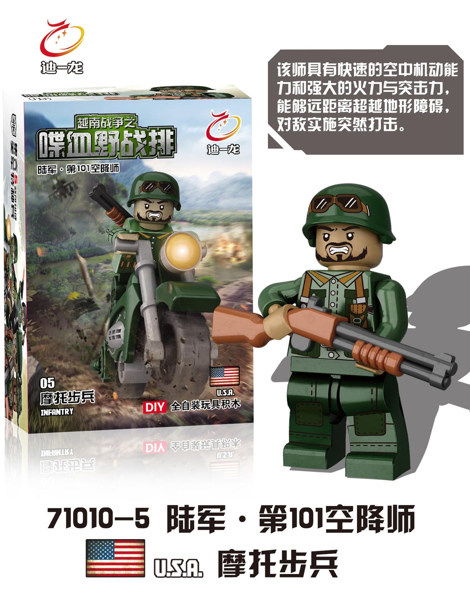 D71010 Вьетнамская война против армии США мини кукла с Книги об оружии Второй мировой войны сцены военные MOC строительные блоки игрушки подаро...