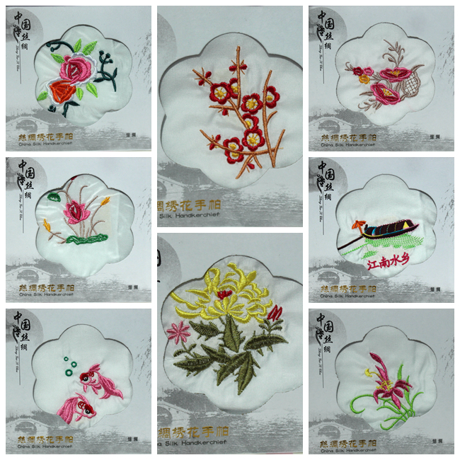 Ethnic White Embroidered Silk Handkerchief Wedding Party Favor Chinese Style Women Fashion Accessories Small Kerchief 23x23 Cm