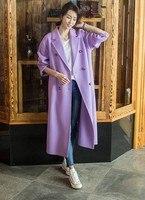 2019 шерстяное пальто женский длинный пуховик зимнее шерстяное пальто для подиума модное фиолетовое теплое шерстяное пальто наряд высокого