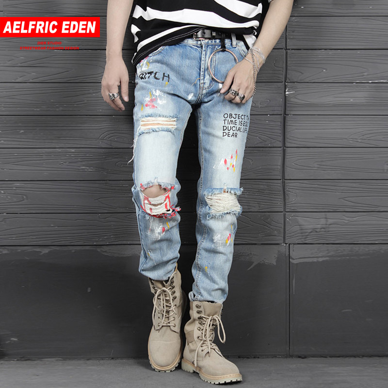 Aelfric Eden Mens Biker Jeans Fashion Casual Pants Graffiti Ripped Hole 2018 Distressed Slim Denim Jean Hip Hop Streetwear PA243