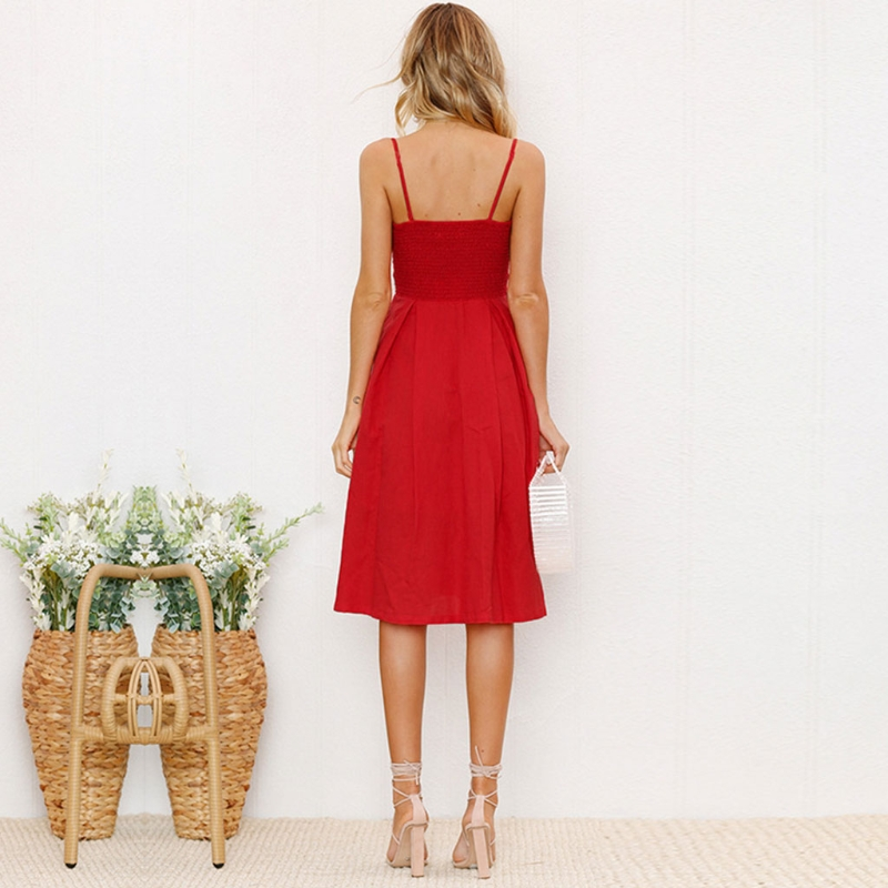 e8582051fb Kobiet czerwone Sukienki Letnie Tie Przednia V Neck Strap Przycisk W Dół  Linii Backless Sukienka w Kobiet czerwone Sukienki Letnie Tie Przednia V-Neck  Strap ...