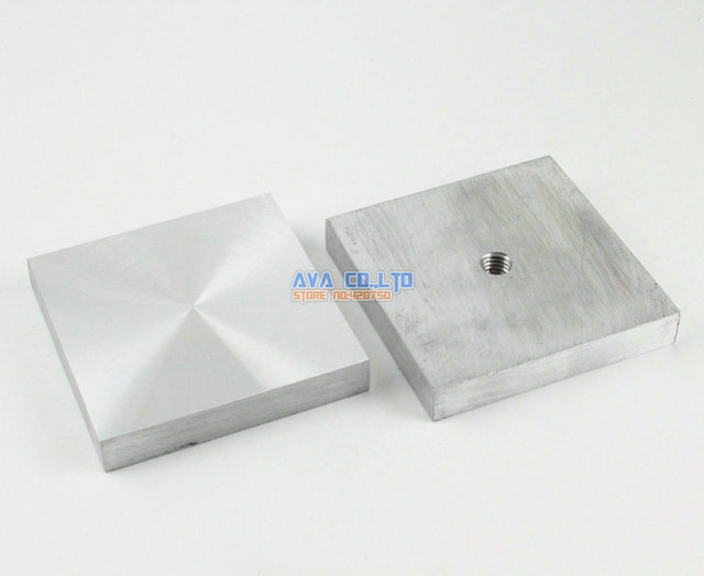 2 Pieces 60mm Aluminum Disc Glass Table Top Adapter Attach Square Decoration