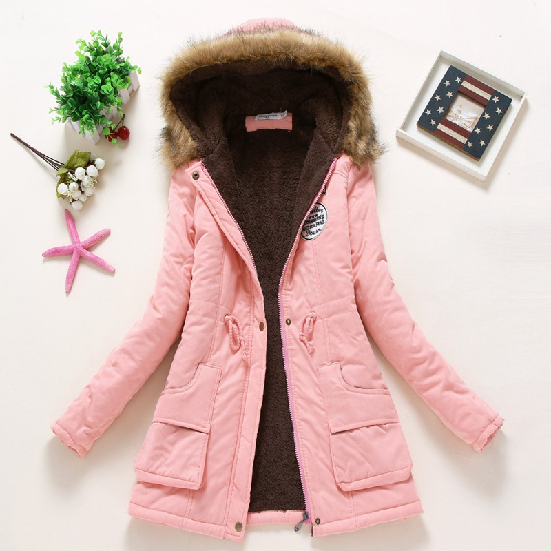 2019 New Sell like hot cakes Winter Solid Cotton Fleece Hooded   Parkas   Coat Women Casual Plus Size Slim Zipper DrawString   Parkas