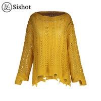 Sishot Women Casual Knitwear 2017 Autumn Yellow Plain Loose Fashion Pullover Hollow O Neck Long Sleeve